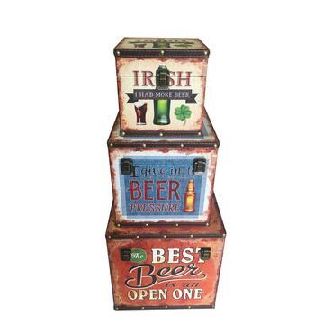 Baule quadrato portatutto set di 3, fantasia Irish beer