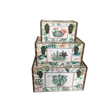 Baule rettangolare portatutto set di 3, fantasia piante