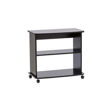 Porta TV e HI-FI moderno con angoli arrotondati, profili antiurto, materiale antigraffio e ruote per facilitare lo spostamento. Colore nero