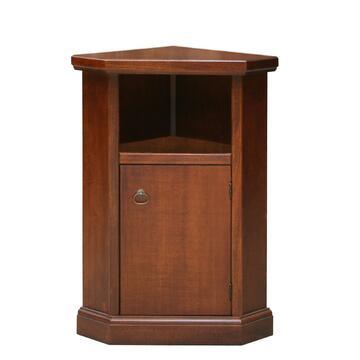 Mobiletto da complemento in stile classico, bellissimo tavolino color noce, adatto a portatelefono o portavaso ad angolo in legno arte povera. 1 anta 1 vano a giorno.