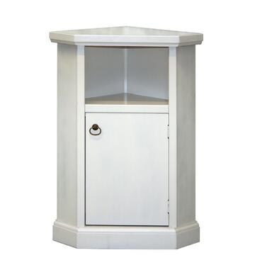 Mobiletto da complemento in stile classico, bellissimo tavolino bianco, adatto a portatelefono o portavaso ad angolo in legno arte povera. 1 anta 1 vano a giorno.