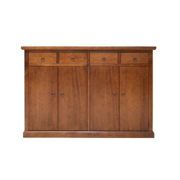 Stile tradizionale e ottima capienza sono i tratti che caratterizzano questo mobile credenza in legno