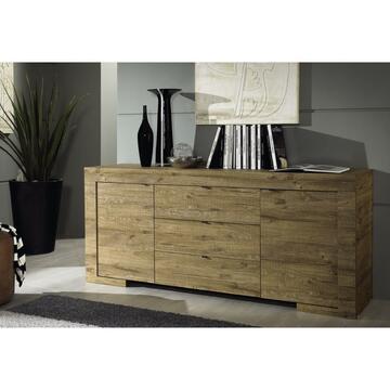 Moderno mobile da soggiorno dalle linee geometriche, pratico grazie al ripiano superiore e gli spazi interni.