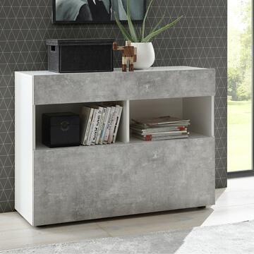 Madia 1 cassetto Ribalta Bianco/Cemento