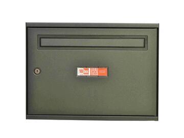 Cassetta postale in ferro. Apertura frontale con serratura, stile moderno, linee pulite. Colore antracite.