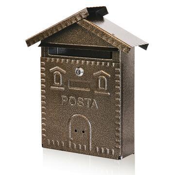 Cassetta posta a forma di casetta, in metallo.