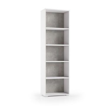 Libreria 5 ripiani Bianco/Cemento 60 X 30, altezza 194