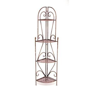 Angoliera 4 ripiani in metallo con eleganti decorazioni