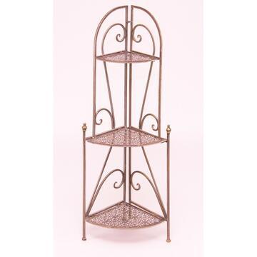 Angoliera 3 ripiani in metallo con eleganti decorazioni