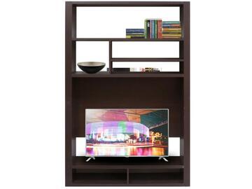Libreria completa forme geometriche e design moderno; spazio dedicato alla televisione con apposita apertura passa cavi; capienti vani utilizzabili sia per contenere libri che apparecchiature elettroniche.