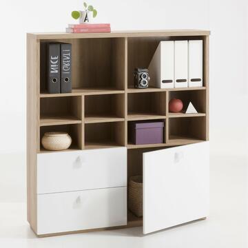 Libreria 1 anta + 2 cassetti Bianco/Rovere