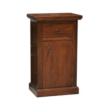 Mobiletto porta telefono in legno con anta e cassetto