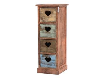 Cassettiera in legno con decorazione a cuori nei cassetti, posizionala dove preferisci, stile vintage anticato.