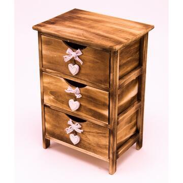Pratica cassettiera 40X29 in legno con decoro nei cassetti, posizionala dove preferisci, stile vintage anticato.