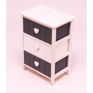 Pratica cassettiera 40X28 il legno stile vintage, Posizionala dove preferisci.  3 cassetti.