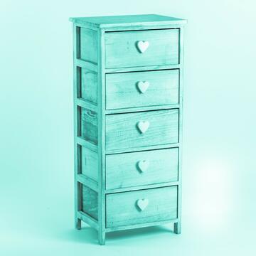 Cassettiera in legno con 5 cassetti e maniglia a forma di cuore.