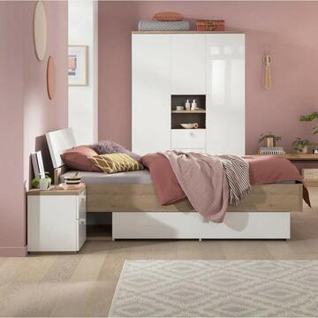 Letto 1 piazza e mezzo in legno Bianco/Rovere
