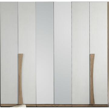 Armadio 6 ante Magnifica Noce/Bianco con specchio
