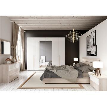 Camera Eva 6 ante Olmo/Bianco lucido con letto