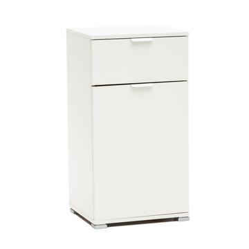 Mobile multiuso da interni. Struttura in legno laccato bianco. 45x38 H85