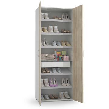 Mobile multiuso scarpiera Bianco/Olmo 72 X 37, altezza 195