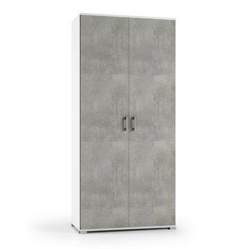 Mobile 2 ante Bianco/Cemento 90 X 45, altezza 195