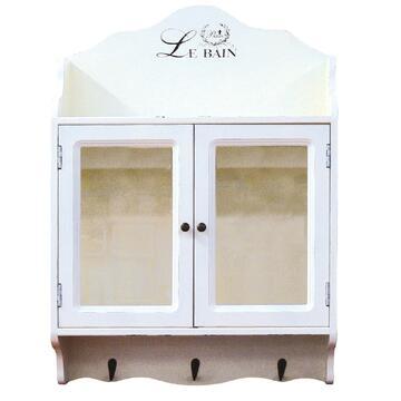 2 ante con cornice in legno e parte centrale in vetro, un portaoggetti superiore e 3 ganci porta abiti. Mobiletto multiuso perfetto per tutte le esigenze.