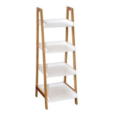 Mobiletto dalle linee moderne, pratico grazie ai 4 ripiani ed elegante per la doppia finitura bianco/legno naturale