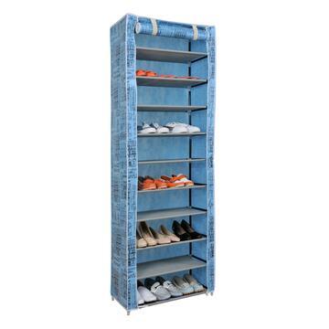 Pratica scarpiera con leggera struttura tubolare in metallo e copertura esterna in tessuto.