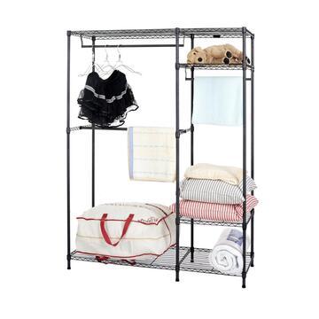 Mobiletto guardaroba in metallo 120x45x180, ripiani inferiore porta oggetti e bastone porta abiti. Idea salva spazio!