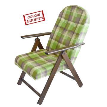 Poltrona Campania imbottita in legno per interni ed esterni. Struttura chiudibile, ottima per la tua pausa relax e per il giusto riposo a fine giornata. Pratica e confortevole.