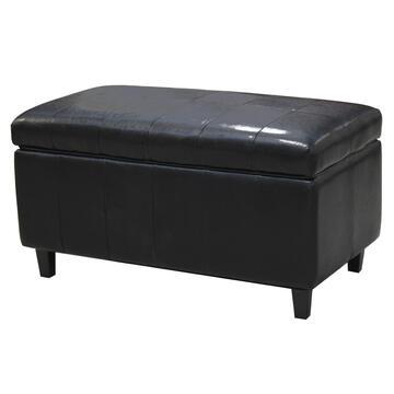 Pouff HERALD 81X45 nero contenitore con apertura pieghevoleáináecopelle
