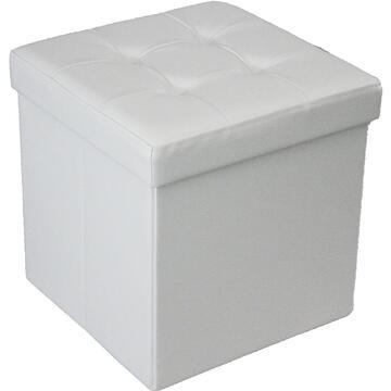 Pouff GEORGE bianco con contenitore in ecopelle, per soddisfare ogni stanza della tua casa