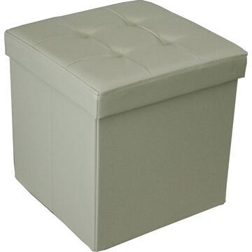 Pouff GEORGE beige con contenitore in ecopelle, per soddisfare ogni stanza della tua casa