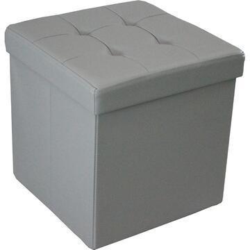Pouff GEORGE grigio con contenitore in ecopelle, per soddisfare ogni stanza della tua casa