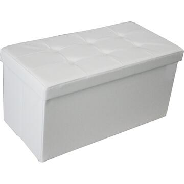 Pouff GEORGE bianco doppio rivestito in ecopelle con contenitore.