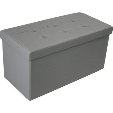 Pouff GEORGE grigio doppio rivestito in ecopelle con contenitore.