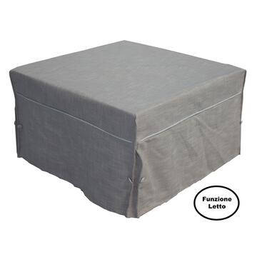 Pouf letto singolo Kyro beige, comodo poufá trasformabile in letto con materasso e rete elettrosaldata.