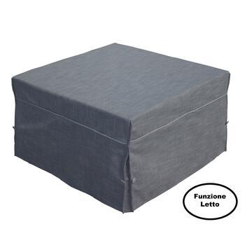 Pouf letto singolo Kyro Grigio, comodo poufá trasformabile in letto con materasso e rete elettrosaldata.