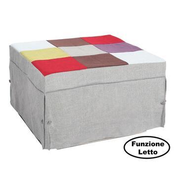 Pouf letto singolo Kyro Chess, comodo pouf  trasformabile in letto con materasso e rete elettrosaldata.