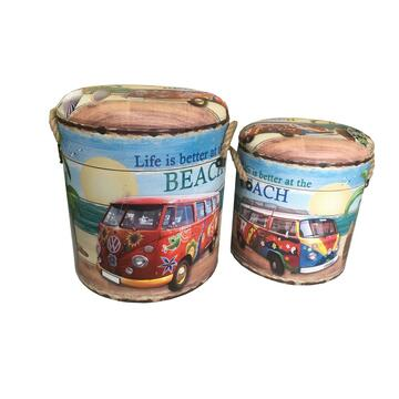 Pouff contenitori set di 2 fantasia spiaggia