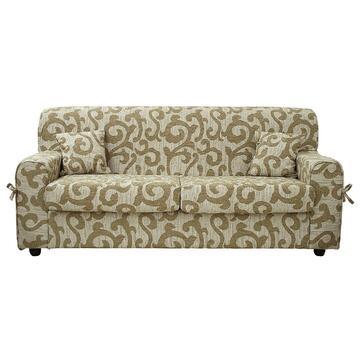 Divano ESTASI 3 posti con schienale unico, sedute formate da due cuscini extralarge e completo di 2 cuscini arredo abbinati alla fantasia del divano.