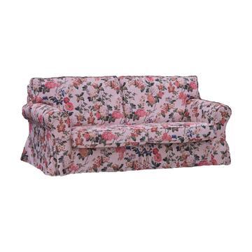 Divano DAIANA 3 posti in tessuto con fantasia floreale e seduta e schienale imbottiti.á Struttura solida e confortevole.