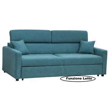 Divano Biella 3 posti in tessuto color turchese, con seduta e schienale imbottiti. Struttura solida e confortevole.