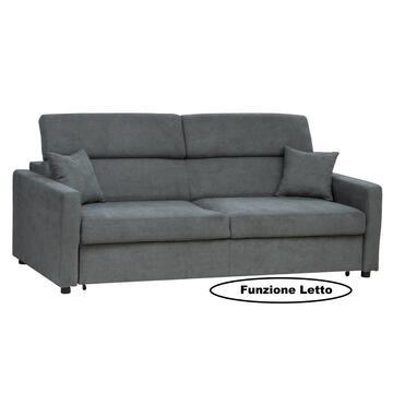 Divano Biella 3 posti in tessuto color grigio stone, con seduta e schienale imbottiti. Struttura solida e confortevole.