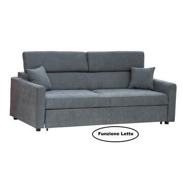 Divano Biella 3 posti in tessuto color grigio ash, con seduta e schienale imbottiti. Struttura solida e confortevole.