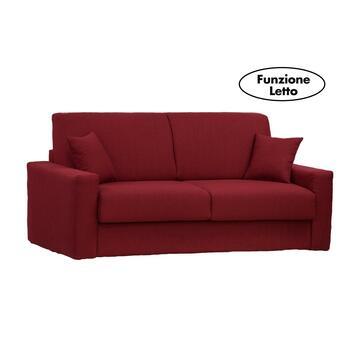 Moderno ed elegante divano PASHA bordeaux trasformabile in letto con rete elettrosaldata e 2 contenitori portacuscini. Disponibile in vari colori e misure.