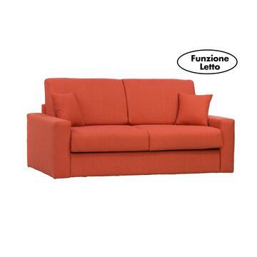 Moderno ed elegante divano PASHA arancio trasformabile in letto con rete elettrosaldata e 2 contenitori portacuscini. Disponibile in vari colori e misure.