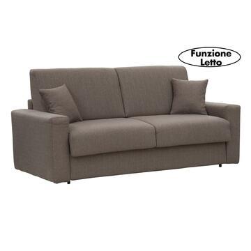 Moderno ed elegante divano PASHA nocciola trasformabile in letto con rete elettrosaldata e 2 contenitori portacuscini. Disponibile in vari colori e misure.