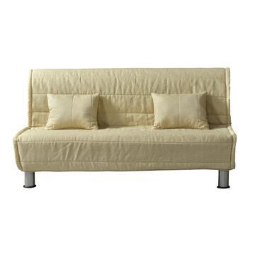 Pratico divano BOMBER crema trasformabile in letto con apertura a scorrimento anteriore.